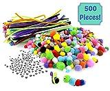Spieleset Manuelle 500Teile für Kinder, 100 bunte Chenille-Fäden + 150 Augen-Aufkleber + 250 Pompoms aller Größen, ideal für Kinder zum Basteln von kleinen Weihnachtsobjekten