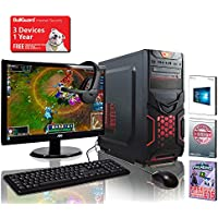 ADMI GAMING PC PACKAGE: Versatile Desktop Computer, 23.6 Inch 1080p Monitor with Speakers, Keyboard, Mouse and Gaming HeadSet (PC SPEC: AMD Kaveri A8-7650K 3.8GHz Radeon R7 Quad Core APU Processor, USB 3.0, 500W PSU, 1TB Hard Drive, 16GB RAM, 24 x DVDRW Drive, Wifi, Red Devil, Pre-Installed with Windows 10 Operating System)