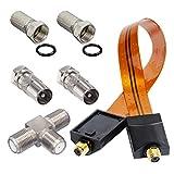 HB-DIGITAL Adapter-Set. 2 DVB-T/T2 Receiver mit nur einer aktiven DVB-T/T2 Antenne betreiben. Inkl. Fensterdurchführung