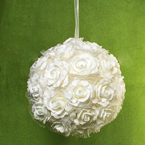 Dekorationskugel weiße Rosen zum Aufhängen Kugel ca. 28 cm Durchmesser Rosenkugel