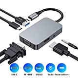 Hub USB C 5 en 1, Adaptateur USB C Hub vers HDMI 4K, USB 3.0, prise audio, VGA 1080P, alimentation USB-C, Adaptateur Aluminium compatible avec les appareils MacBook Pro 2016/2017/2018 et plus