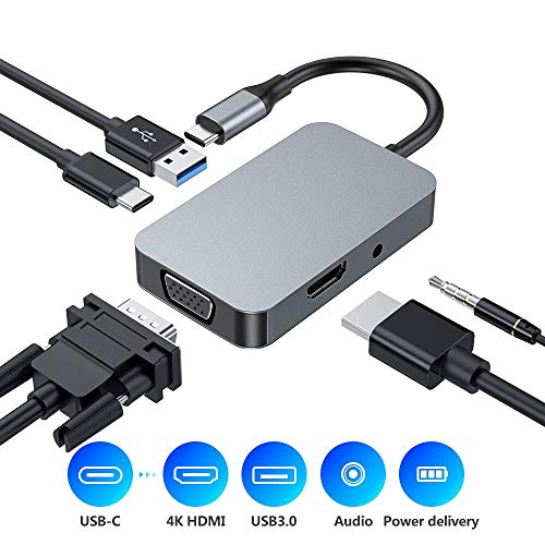 USB C Hub, Type C 5 in 1 Hub Ada...