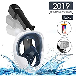 AGM Masque de Plongée sous-Marine, Masque Snorkeling Intégral Plein Visage 180° Visible, GoPro Compatible, Facile à Respirer, Dual Tuba Anti-buée Anti-Fuite pour Enfants Adultes