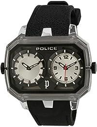 Police - 13076JPCL-04 - Montre Homme - Quartz Analogique - Cadran Argent - Bracelet Silicone Noir