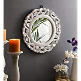 The Urban Store Wood Hand Crafted Round Shape Vanity Wall Decorative Mirror Glass for Living Room, 35X 35 X 1.5 cm (White) (T