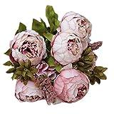 Ularmo 1 Blumenstrauß 8 Köpfe künstliche Pfingstrose Seide Blume Blatt Home Hochzeit Party Dekoration (Khaki)