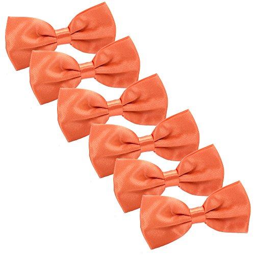 6pcs Herren Fliege Schleife für Hochzeit Party - Bereits Gebunden mit Hakenverschluß und Verstellbar Smoking Schleife Schlipsr Smoking Schleife Schlips (Orange) (Fliege Orange)