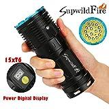 Sisit Supwildfire Taschenlampe 50000 Lumen, hohe Lumen 50000LM 15 x XM-L T6 LED Power & Modus Digitalanzeige Jagd Taschenlampe (Blau)