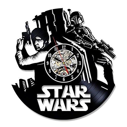 BiuTeFang Wanduhr Schallplatten Vinyl Fett-Star Wars-Thema 3D schwarzes Vinyl Record Material Schwarz Hohl Trim Wanduhr