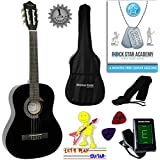 Acoustic Guitar Package 3/4 Sized (36' inch) Classical Nylon String Childs Guitar Pack Black