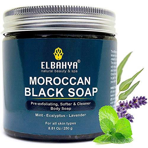 Marokkanische schwarze Seife mit Eukalyptus und Lavendel Ätherisches Öl, Olivat und Minze. umfassen Körperpeeling Handschuh. Bestes Geschenk für Männer und Frauen. Kommt im Geschenkpaket 250g