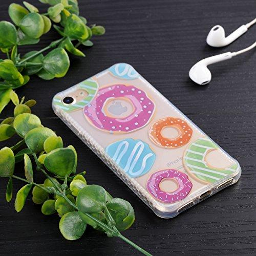 Cover iPhone 7, Voguecase Custodia Silicone Morbido Flessibile TPU Custodia Case Cover Protettivo Skin Caso Per Apple iPhone 7 4.7(Nero-Colore cavo 08) Con Stilo Penna Trasparente-Donut 11
