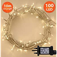 Fairy Lights 100 LED 10m Warm White Indoor/Outdoor Christmas Lights String Tree Lights Festival/Bedroom/Party Decorations Memory Mains Powered 32ft Lit Length 3m/9ft Lead Wire CLEAR CABLE