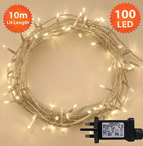 ANSIO 2001 Fairy Lights Warm White 100 LED 10m Lit Length Clear Cable
