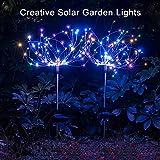 2 x Solar Feuerwerk Licht 120LED Solarleuchte Garten Wasserdicht IPX7, 40Kupferdrähte Landschaftslicht DIY Draussen Blüht Feuerwerks-Bäume für Garten Patio Rasen, Weihnachtsfest-Dekor (Mehrfarbig)