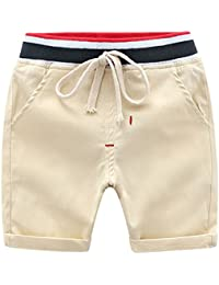 4e454200473d BOBORA Boys Shorts Kids Adjustable Elastic Waist Solid Short Pants Sized  2-6Years Old