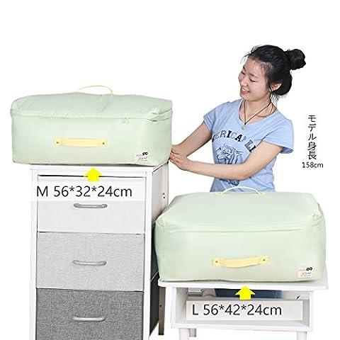sivin Pure Green 2Größe (L + M) dreilagige Struktur Material aus Mikrofaser Aufbewahrungstasche zusammenklappbar Organizer Tasche für kuschelige Decke Kleidung Aufbewahrung, Mikrofaser, Pure Green, Set (1Pc L+1Pc M)