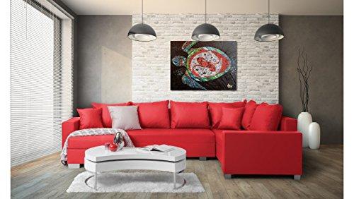 JUSTyou Felisia Wohnlandschaft Couchgarnitur Polsterecke Kunstleder (BxLxH): 145-206x303x86 cm Rot Ottomane links