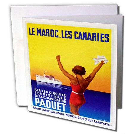 3drose Vintage LE Marco. Les Kanarien Ocean Liner Travel Poster, Grußkarten, 15,2x 15,2cm, Set 12(GC 149233_ 2) -