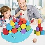 Bloques apila y descubre Bloques de Construcción infantiles de Juguete Equilibrio de Aprendizaje Temprano Del Bebé De Madera Juguetes Educativos (Azul)