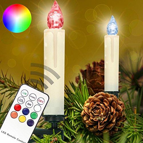 Homelux 30 RGB LED Weihnachtskerzen Christbaumkerzen Weihnachtsbeleuchtung Fernbedienung Timer Kabellos - 10/20/30/40er Set - DEUTSCHER HÄNDLER