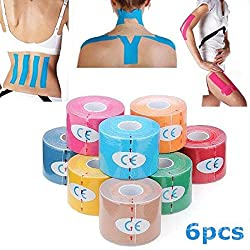 Mark8shop 6pcs Gelb Kinesiologie Tape Sport Muskeln Pflege Therapeutische Bandage