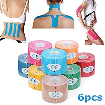 Mark8shop 6pcs Gelb Kinesiologie Tape Sport Muskeln Pflege Therapeutische Bandage 0
