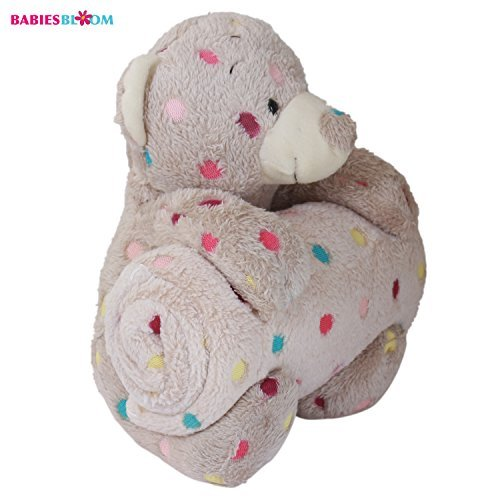 Babies Bloom Multi Dot Teddy Bear Cuddle Set Quilt and Blanket, Brown