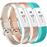 Vancle Fitbit Alta HR Armband, Fitbit Alta Armband Weiches Sports Ersetzerband Silikagel Fitness Verstellbares Uhrenarmband für Fitbi Alta und Fitbit Alta HR (Champagne Rosegold Teal, Large)