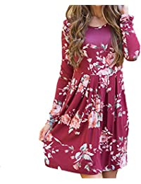 32b5e81ecb Vruan Floral Dresses for Women Long Sleeve A-line Pleated Casual Dresses  Swing Tunic T