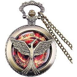 "THE HUNGER GAMES Fiery Phoenix Bronze Antiqued/Vintage Case Men's Quartz Pocket Watch Necklace - On 32"" Inch / 80cm Chain"