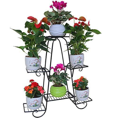 Support de fleur en métal avec support à fleurs en métal et 6 étagères pour intérieur et extérieur (Couleur : NOIR, taille : 83 * 25 * 83cm)