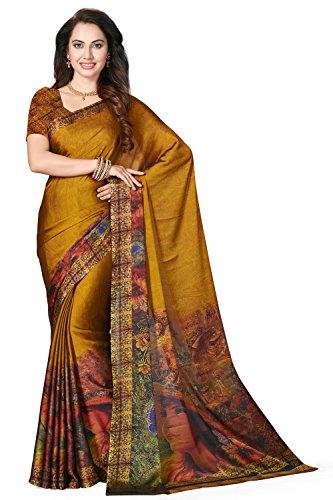 Rani Saahiba Satin Georgette Digital Print Saree ( SKR3579_Mustard )