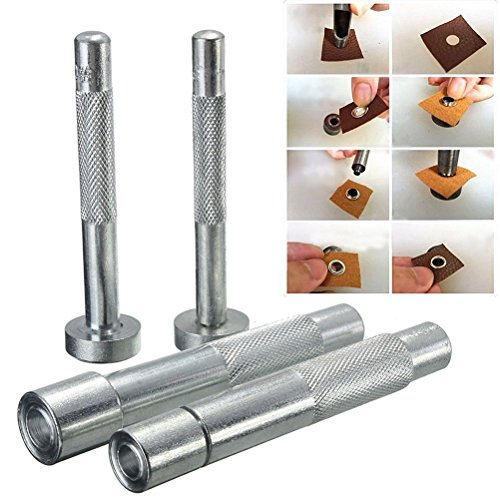 100x 2mm silber Ösen mit 3Set Hand Set Werkzeuge–Sterben Punch, hohl Locher für Tülle verwendet für Kleidung, Lederwaren und Scrapbooking von Hochzeit Decor, metall, silber, 11 mm (Öse Hand)