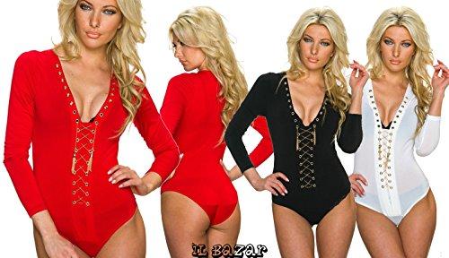 body-shirt aderente donna 3 colori nero rosso bianco taglie S/M, M/L Bianco