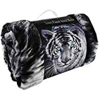 LUXURY 3D FAUX FUR SOFA BED THROWS / BLANKET ANIMAL PATTERN THROWS DOUBLE KING SIZE (Double (150 x 200cm), Black White Tiger)