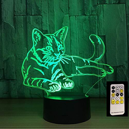 Lkfqjd Fernbedienung Liegend Katze 7 Farben 3D Led Nachtlichter Usb 3Aa Power Tischlampe Wohnkultur Schlafzimmer Schlaf Lava Lampe