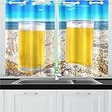 WDDHOME Due Bottiglie di Birra di Sabbia Fredda Tende da Cucina Tende da Finestra per caffè, Bagno, Lavanderia, Soggiorno Camera da Letto 26 x 39 Pollici 2 Pezzi