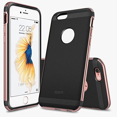 iPhone 6 / 6S Hülle (4,7 Zoll), ESR® Hybrid Schutzhülle, Metallrahmen + Weiche Silikon Bumper Case Hülle für iPhone 6/6S (Rosygold) S-Rosygold