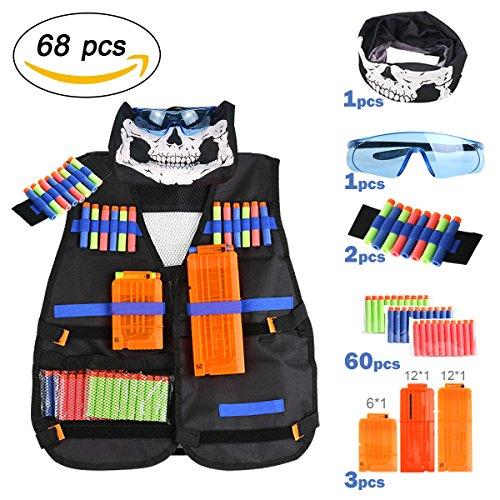 Chaleco Táctico de Los Niños para Pistolas Nerf, Serie Elite Strike, 60 Dardos Bullets Bola de Repuesto + Protección Gafas +3 Pinzas de Repuesto Rápido para Cargadores +Bufanda + 2 Muñequeras de Mano