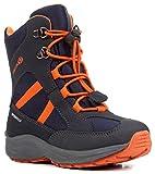 Geox J847PD Alaska WPF Jungen Winterstiefel, Schnellverschluss, Wasserdicht, Warm gefüttert, Atmungsaktiv, Wechselfußbett Blau (Navy/Orange), EU 29