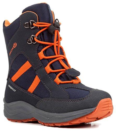 Geox J847PD Alaska WPF Jungen Winterstiefel, Schnellverschluss, Wasserdicht, Warm gefüttert, Atmungsaktiv, Wechselfußbett Blau (Navy/Orange), EU 32