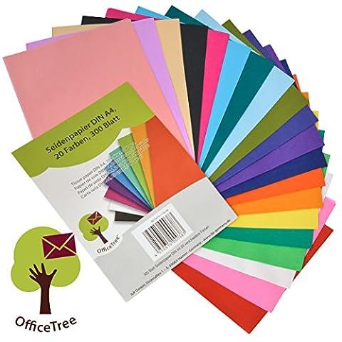 OfficeTree® Seiden-Papier 300 Blatt A4 - 20 Farben - mehr Spaß am Basteln Gestalten Dekorieren - Skizzen- und Zuschnitt-Papier - 16 g/qm Premium-Qualität