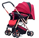 AGGK Baby stroller Two in one High landscape 1-3 years old Foldable Portable Baby carriage Pet Toy Car, rose red