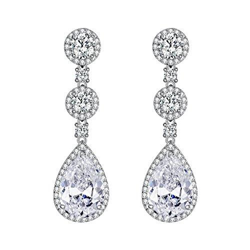 EVER FAITH® 925 Sterling Silber Bling Prong CZ Tropfen Braut Engagement edel Ohrringe N06427-1