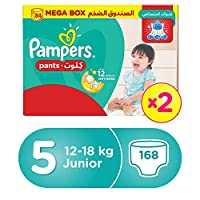 ‏‪Pampers Pants Diapers, Size 5, Junior, 12-18 kg, Double Mega Box,168 Count‬‏