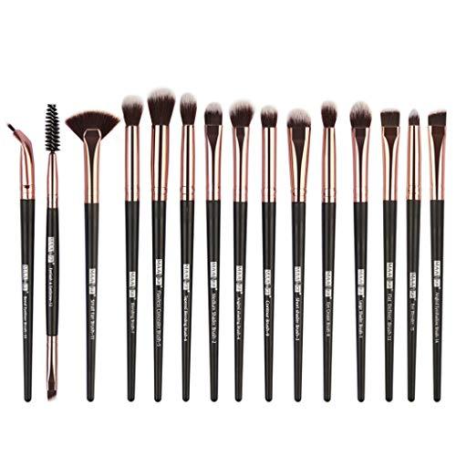 Cooljun Lot de 15 Set Outils Pinceaux Maquillage Pinceaux pour le Yeux Ombre à Paupières Sourcils Shader Concealer Cosmetics Brush (Noir)