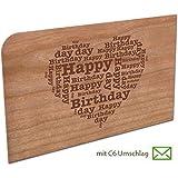 Grußkarte aus Holz - Happy Herz mit Umschlag