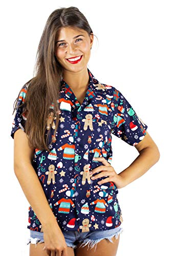 (Hawaiihemd Hawaiibluse Weihnachten, Christmas Gingerbread, blau, 5XL)