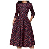 Anmain Fiori Gonne Donna, Retro Gonnella Moda Full-Dress Elegante Abito Abiti Canoniche Abito Sera Vestiti Manica 3/4 Gonna Lunghe Gonne Pieghe A-Line Skirt Girocollo Vestito Danza Cocktail (Small)